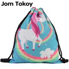 Drawstring Backpack Knapsack Unicorn Printing Jom Tokoy Girl's Women Fashion Mochila