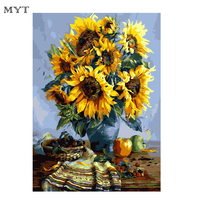 Sunflowers DIY Frameless Pictures Painting By Numbers DIY Canvas Painting By Numbers 40 50cm Home Decoration