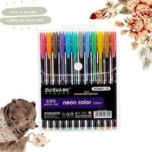 12/24/36/48 color gel pen set pastel neon flash sketch drawing children school stationery marker graffiti gift