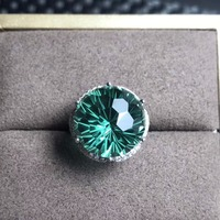 Green Round Natural Crystal Ring for Women, 925 Sterling Silver Fine Jewelry, 15*15mm Gemstone with Velvet Box Certificate FJ246
