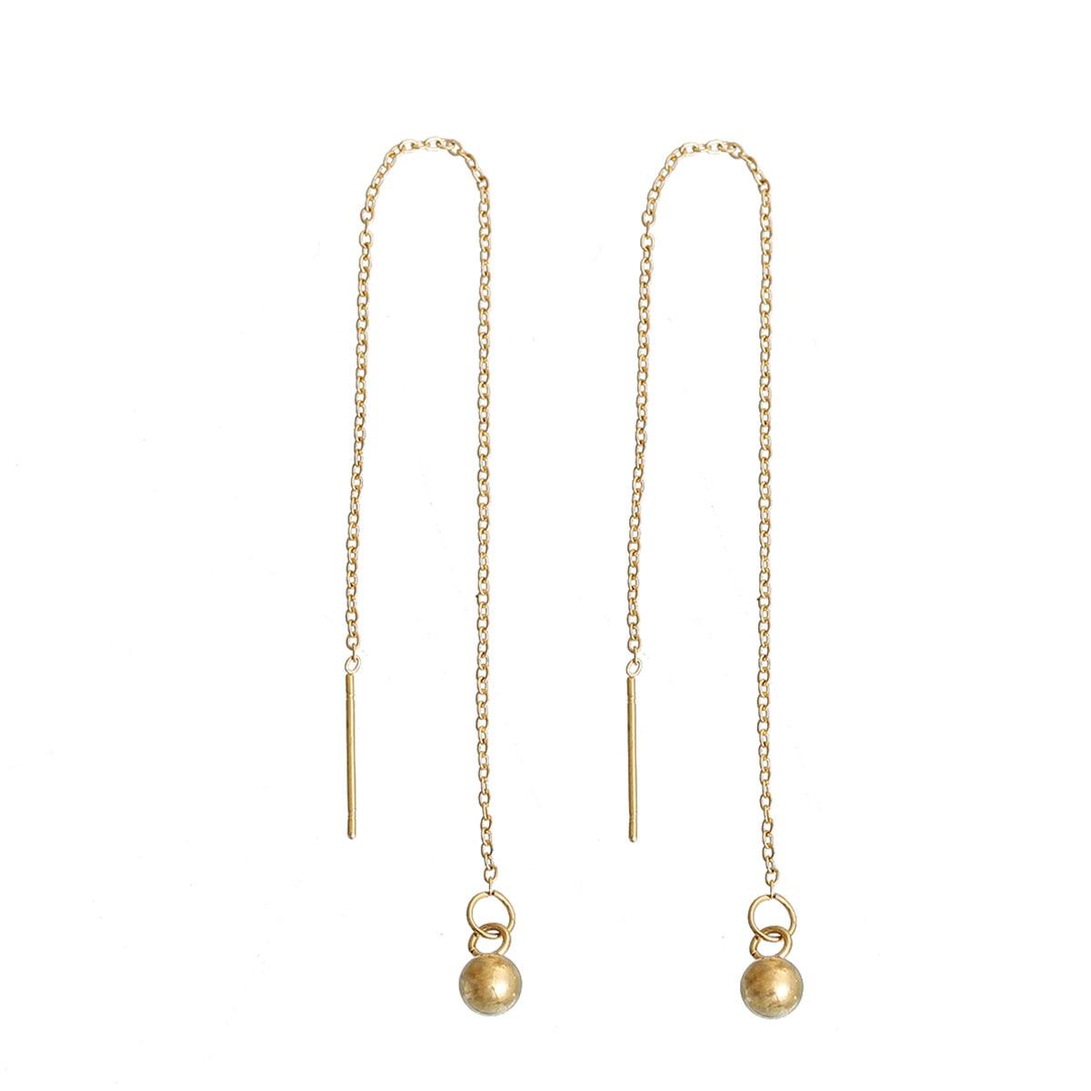 Doreen Box Stainless Steel Ear Thread Threader Earring Gold Color Ball  139cm Long,1