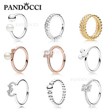 PANDOCCI 100% 925 Sterling Silver GRAINS OF ENERGY Pearl Luminous Ice String of Beads Glacial Beauty Ring For Women's gift(China)