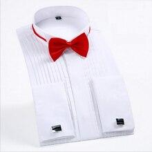 Free bow ties 2018 Fashion White Tuxedo Shirts for Wedding Men Long Sleeve Casua