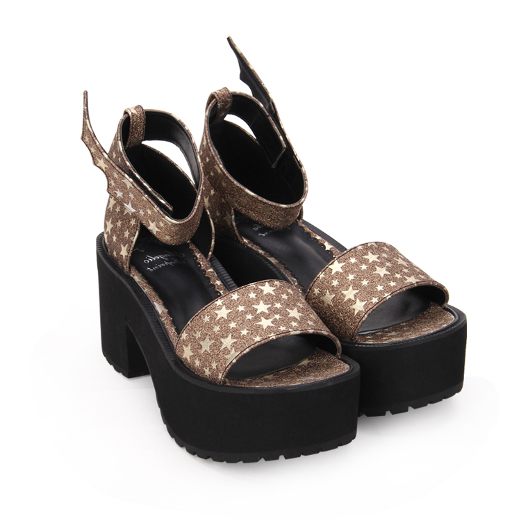 promo code 82ddf 2e2d9 Angelical Impresión Zapatos Lolita Señora Sandalias Negro Chica 47 Princesa  Bombas Tacones Mujeres Altos 8 Alas wpq881S