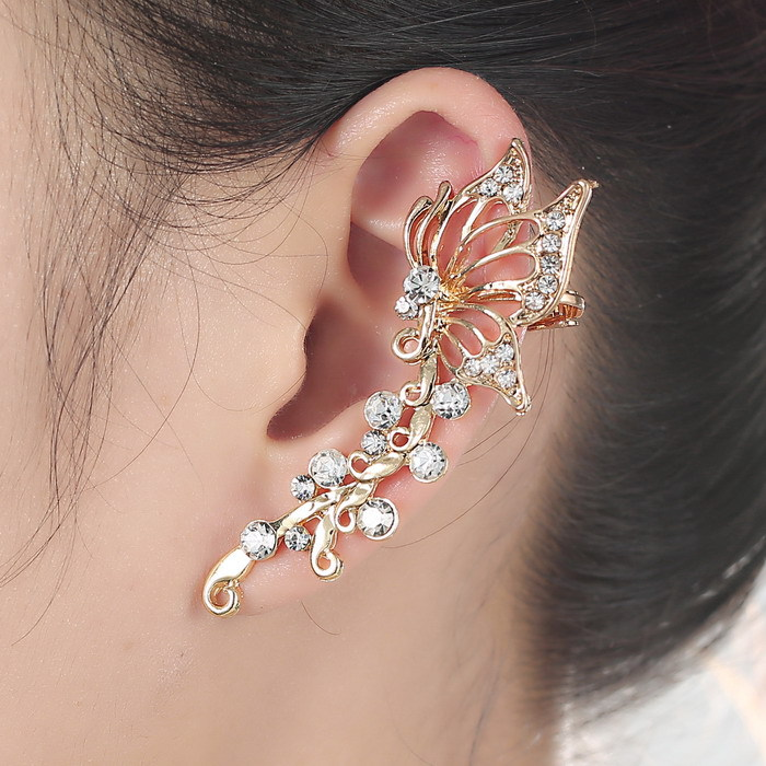 Design Brief Crystal Earrings gold color Butterfly New Fashion ...