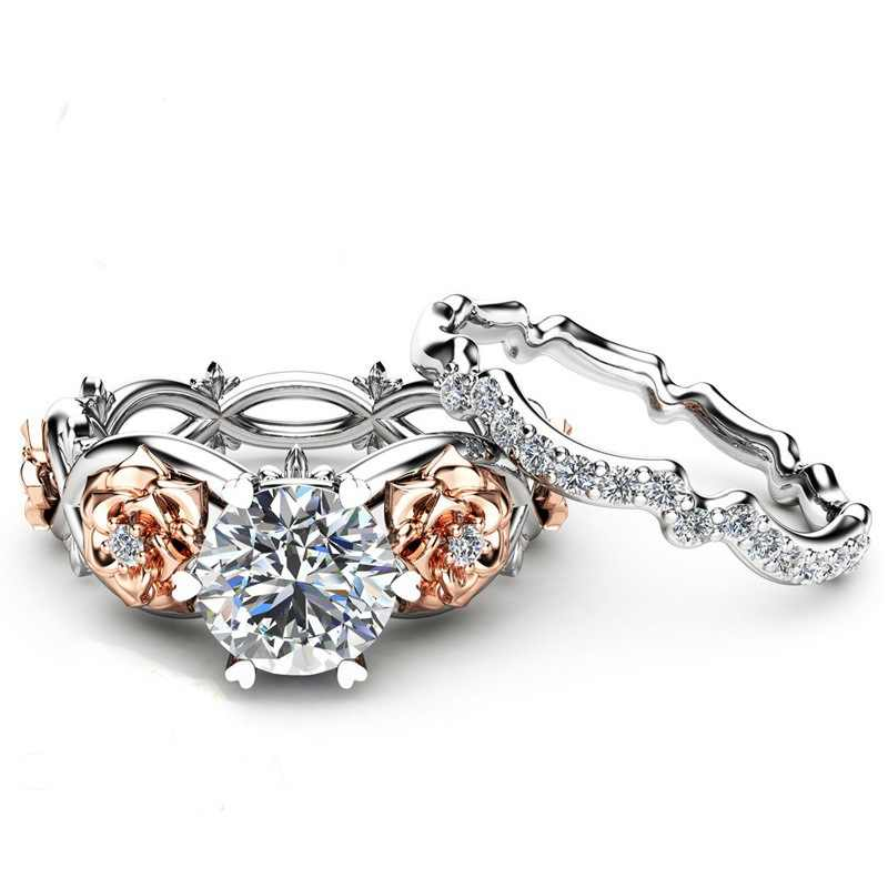 CCคนรักแหวนสำหรับผู้หญิงวินเทจดอกไม้และพืชสร้างสรรค์Cubic Z Irconiaแหวนคู่เจ้าสาวเครื่องประดับจัดงานแต่งงานพรรคของขวัญCC2000