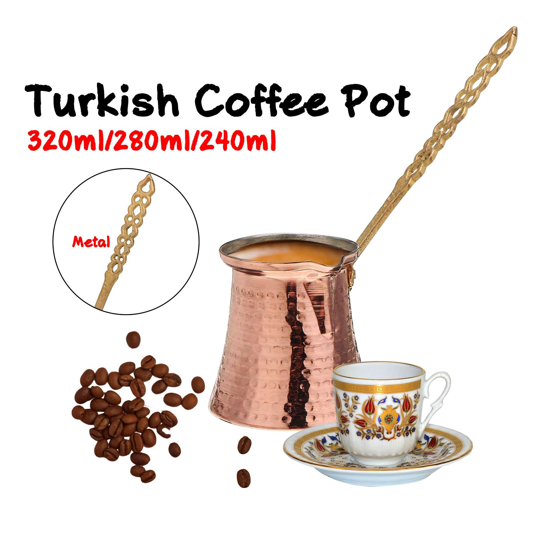 320/280/240ml Turk Turkish Coffee Pot Coffee Turk Turkish Copper Coffee Maker for Turk Cezve Cafeteria Metal Handle Cevze