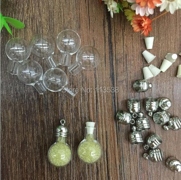 Wholesale 300sets clear Globle Ball Vial Pendant Making Necklace/Key Chain Findings, Magic Vials Pendant Essential Oil Pendant