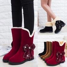 b1f3374e4 Женские зимние ботинки замшевые лук жемчуг круглый носок клинья обувь  Утепленная одежда Slip-On осень-зима женские зимние сапоги.