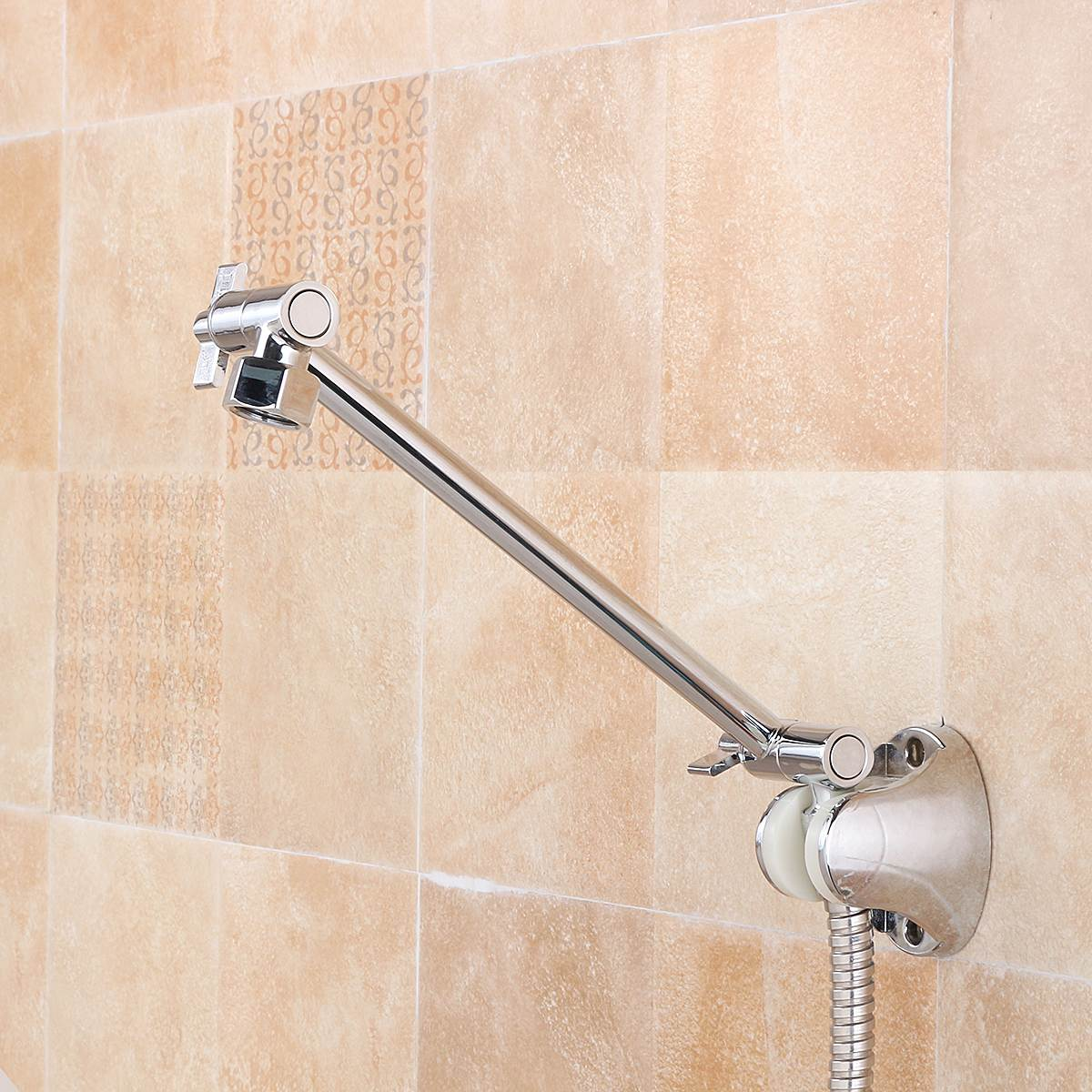 9 Inch Brass Chrome Shower Head Adjustable Height Arm Wall