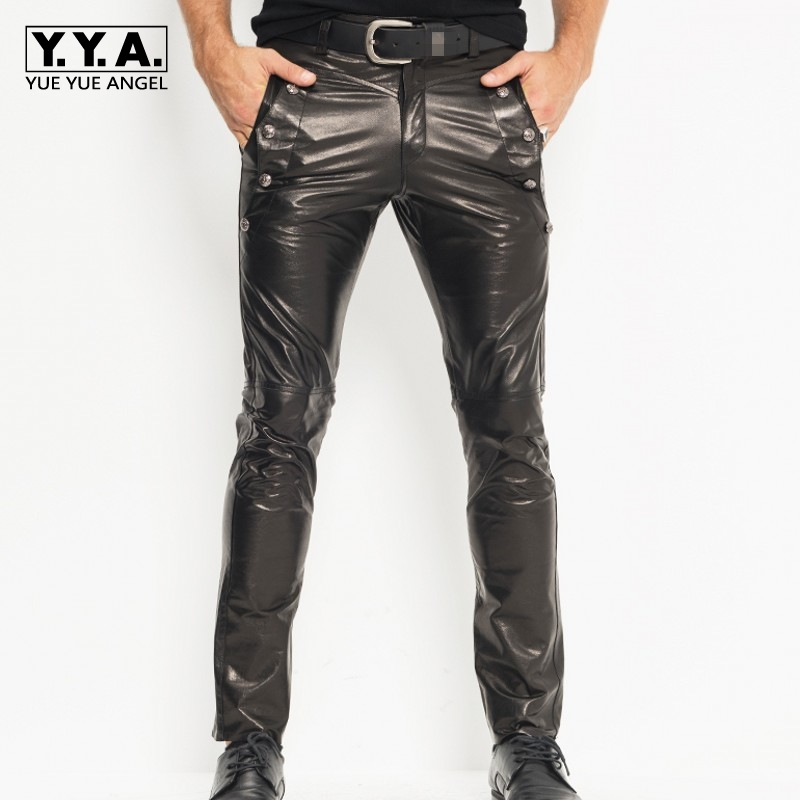 High Quality Brand Mens New Full Pants Rivet Straight Pants Male Genuine Leather Sheepskin Slim Club Motorcycle Biker Pants