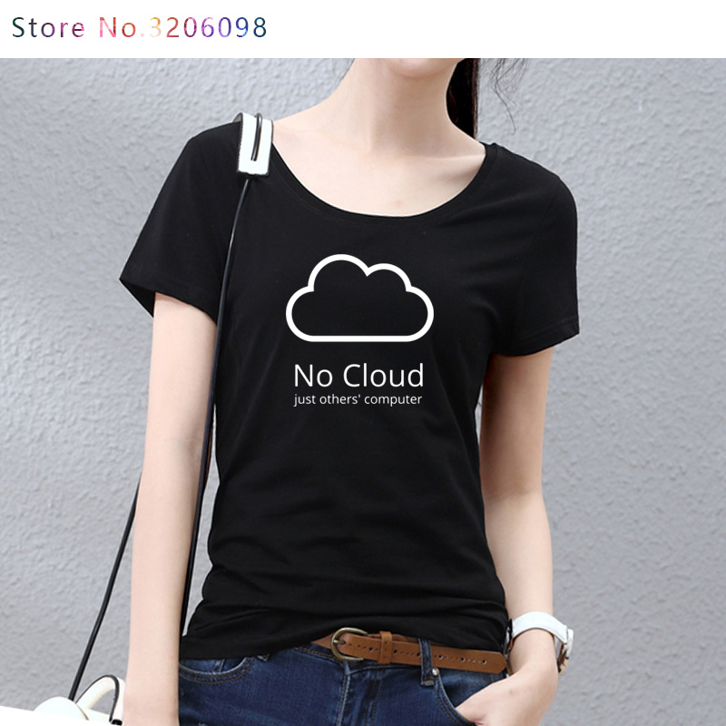 Computer Cloud T-shirts Creative Women Cotton Short Sleeve Summer Style Tee shirts New Casual Funny Geeks T shirts girls