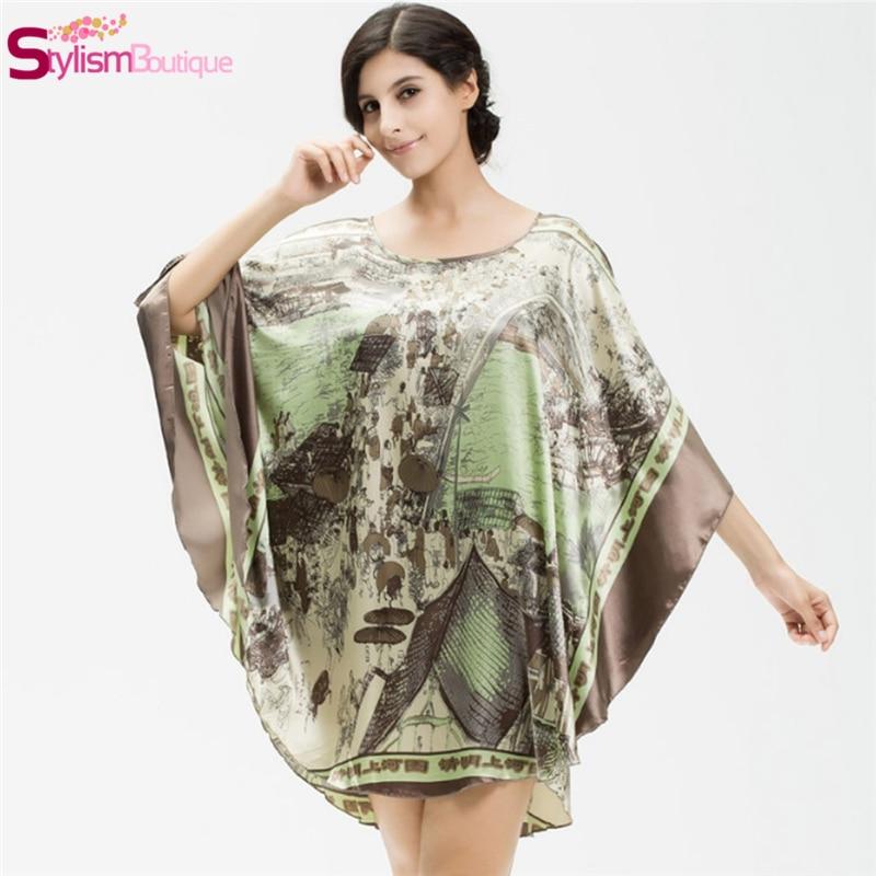 Casual Women Lingerie NightgownGeceli Robe Batwing Nightdress Printing Satin Sleepwear Silk Carafan Home Clothes Sexy Mini Dress