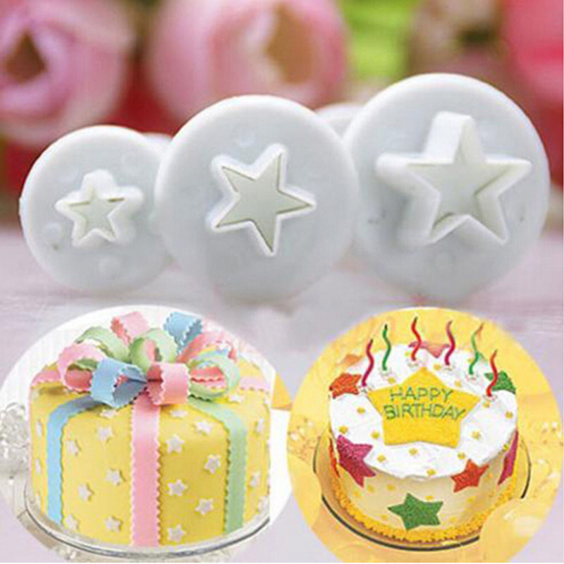 Top Fashion Sale Mold Bakeware Pastry Tools 3x Star Cake Fondant Pastry Cutter Plunger Mold Tools Decor Cake & Baking Tools
