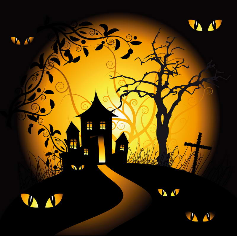 Halloween vinyl cloth moon night castle cats eyes photography backdrops for children party photo studio portrait backgrounds Хеллоуин