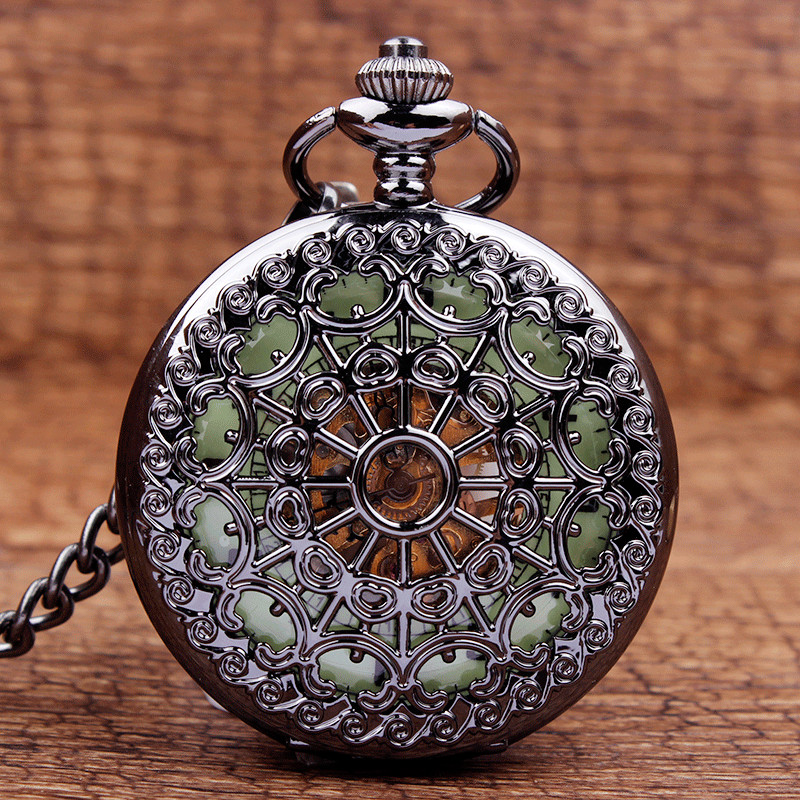 Bronze Steampunk Luminous Black Mens Mechanical Hand Wind Pendant Pocket Watch Necklace Chain Mens Womens Gifts Glows In Dark