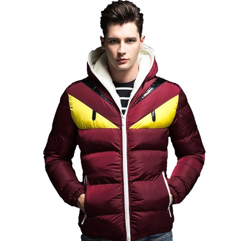 Новый бренд Для мужчин S зима Куртки Мода с капюшоном Для мужчин повседневная теплая верхняя одежда мужской толстый глаз пальто с хлопковой ...