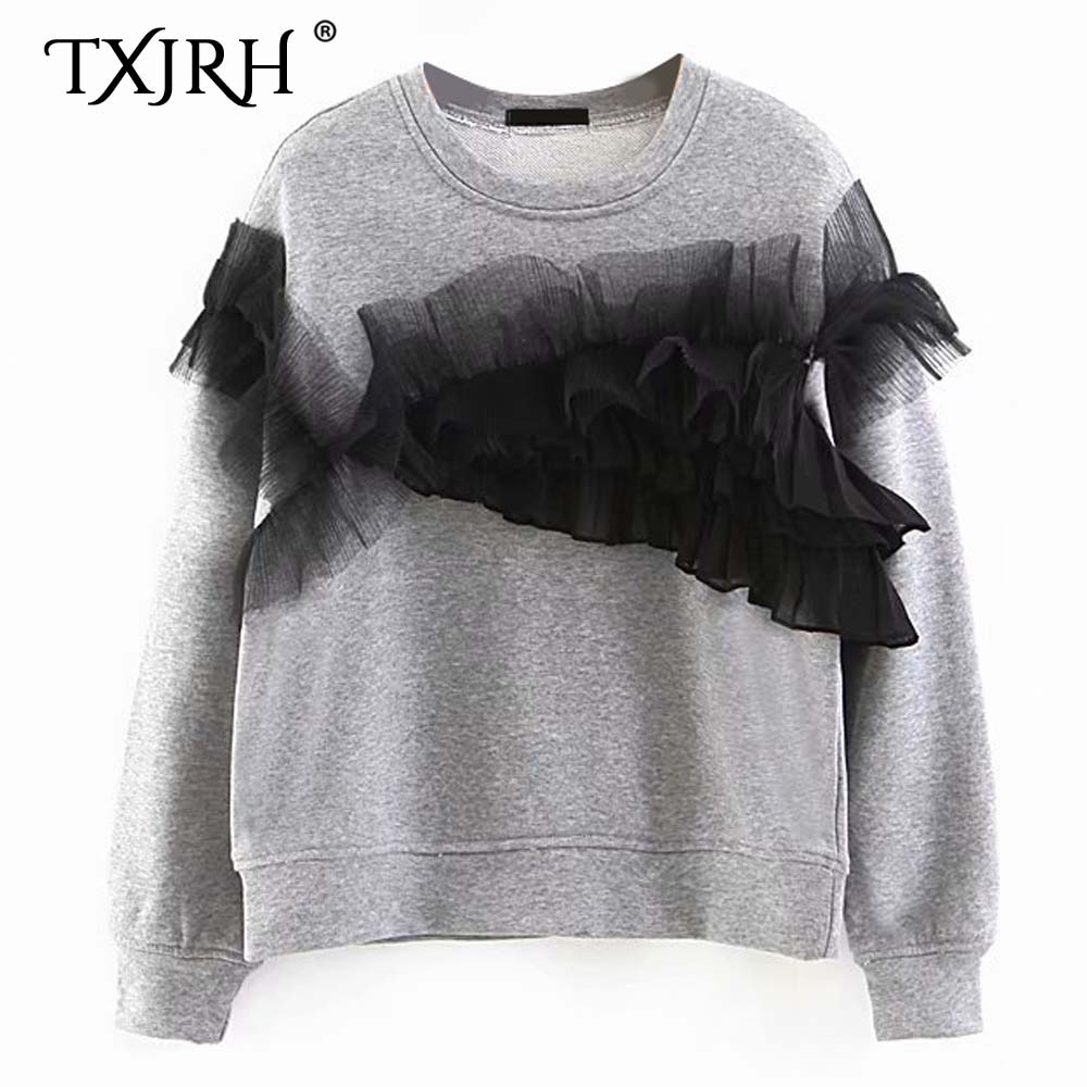 2019 Spring Women Stiching Ruffles Wood Ears Black Hoodies O Neck Irregular Sweatshirt Pullover Jumper Casual Sweats Outwear Hoodies & Sweatshirts