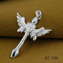 2017 Angel wings man cross pendant S925 pure silver retro fashion cross pendant The new trend Men's ambition pendant(China)