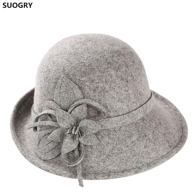 1ce4788e81c SUOGRY Noble Wool Fedoras Hat For Women Hat Fashion Bow-Knot Cap Vintage  Elegant Female
