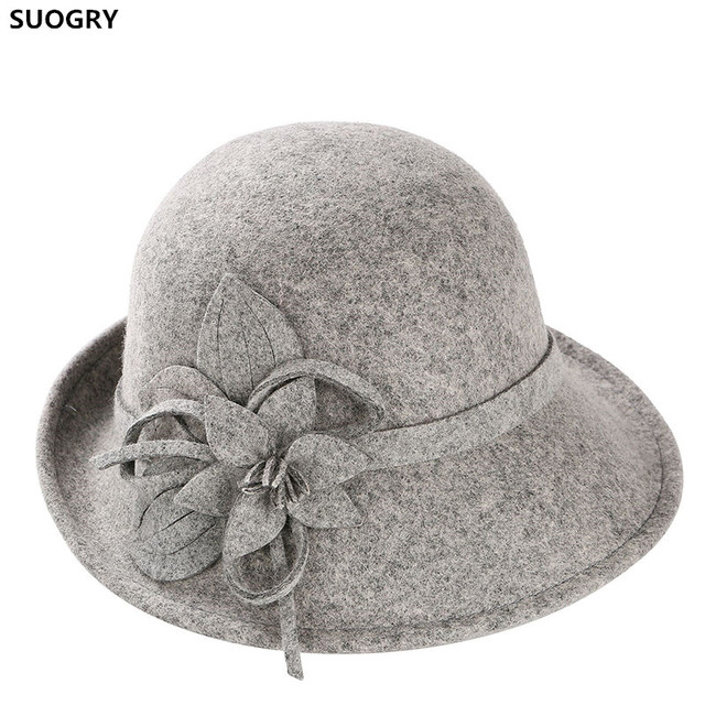 SUOGRY Noble Wool Fedoras Hat For Women Hat Fashion Bow-Knot Cap Vintage Elegant Female Cap Brand Soft Girls Chapeu Wholesale