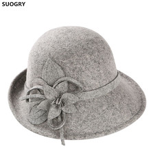 цены на SUOGRY Noble Wool Fedoras Hat For Women Hat Fashion Bow-Knot Cap Vintage Elegant Female Cap Brand Soft Girls Chapeu Wholesale  в интернет-магазинах