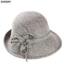 5407788c87ba8 SUOGRY Noble lana sombreros de ala del sombrero para el sombrero de las  mujeres del arco