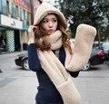 2016 Outono e inverno freeshipping super quente de Lã de ovelha de pelúcia cap com luvas cachecol chapéu Mulheres moda mulheres cachecol quente conjunto