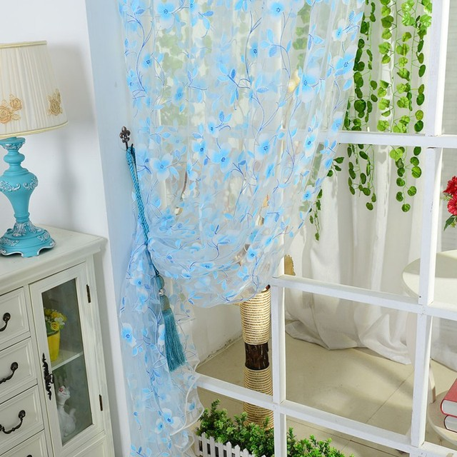 5 Colors Scarf Sheer Voile Door Window Curtains Drape Panel Valance For Living Room Fit Rod Pocket