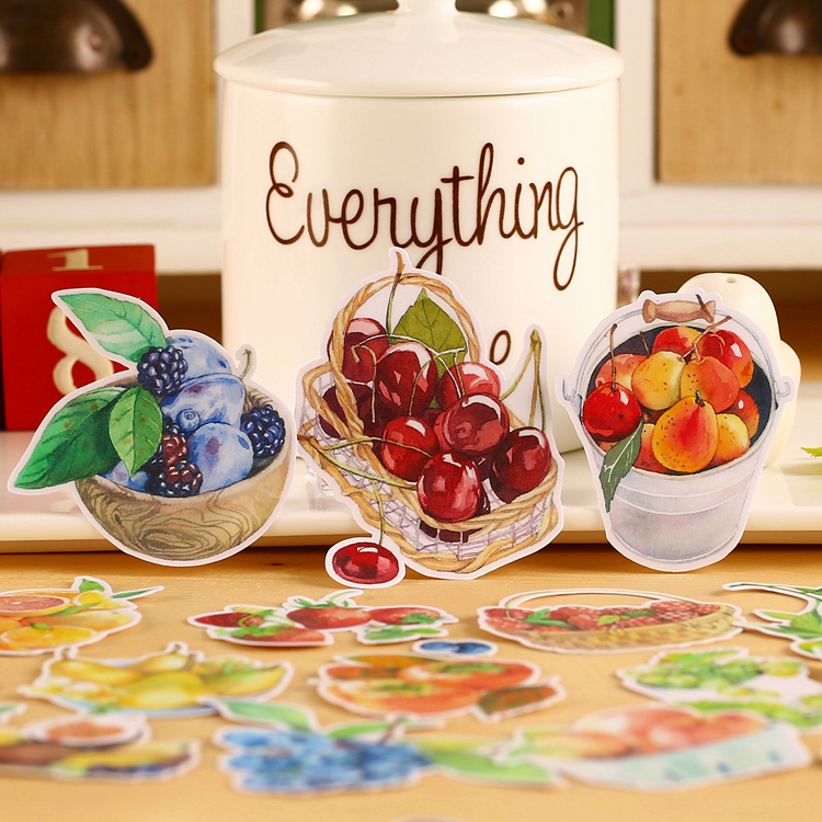 18pcs Creative Cute Self-made  Summer Fruits Food Stickers Scrapbooking Stickers /decorative Sticker /DIY Craft Photo Albums