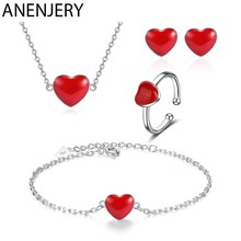 ANENJERY Classic 925 Sterling Silver Jewelry Sets Red Heart Necklace+Earrings+Ring+Bracelet For Women Gift(China)