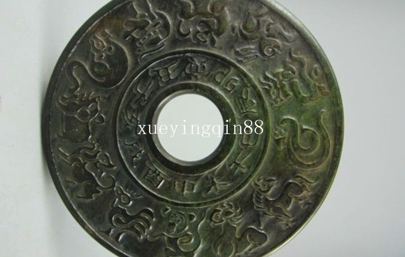 Chinese old jade fengshui pendant old jade carving Zodiac garden pendant