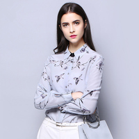 Natural Silk Crepe Shirt Pure Silk Fabric Eco friendly Printing New Trend Birds Pattern Long Sleeve Blouse Femme Top Quality