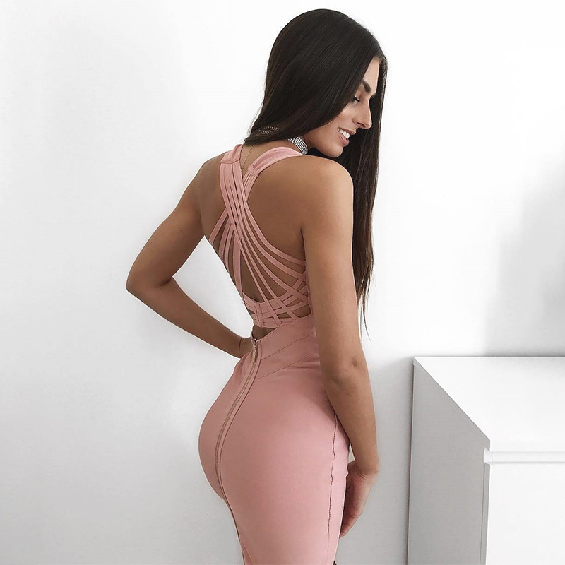New Arrivals 2019 Pink Red Plunge Sexy Sleeveless Clothes CrissCross Bodycon Bandage Dresses Party Club Dress For Women Vestidos