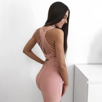 New Arrivals 2018 Pink Plunge Sexy Sleeveless Clothes Back Cross Bodycon Bandage Dresses Party Club Dress For Women New Year