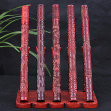 Red Tan carved red sandalwood incense tube barrel Dragon play open rich embossed beaded lying