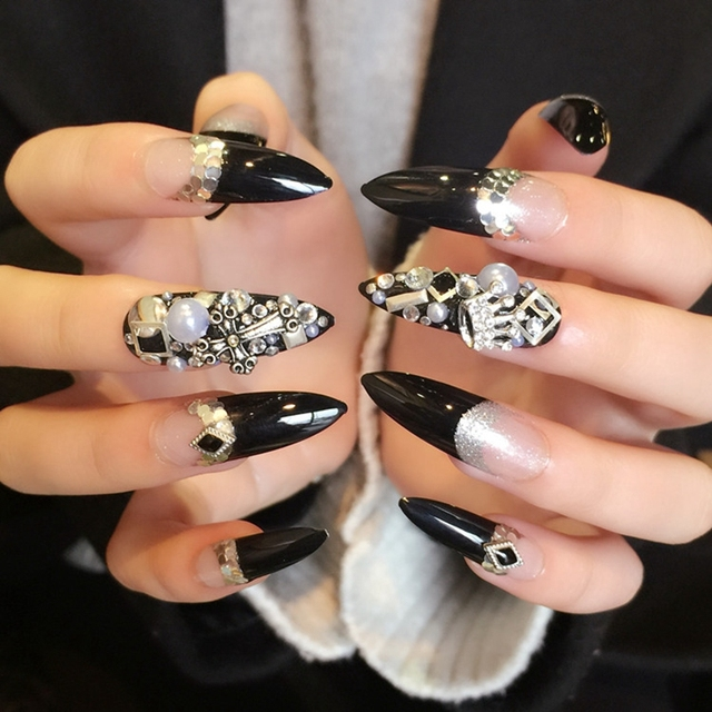 24pcs Dazzling French Black Acrylic Nail Silver Sequins Crossing