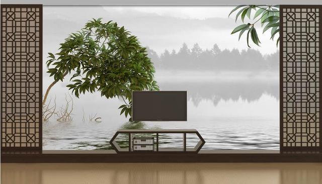Boom In Woonkamer : 3d stereoscopische groen foto muurschildering boom landschap inkt