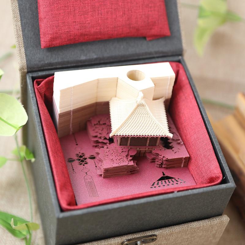 Bloc Notes mémo 3D autocollant pratique bricolage saint valentin cadeaux anniversaire collant personnalisable personnalisé arc pavillon japonais