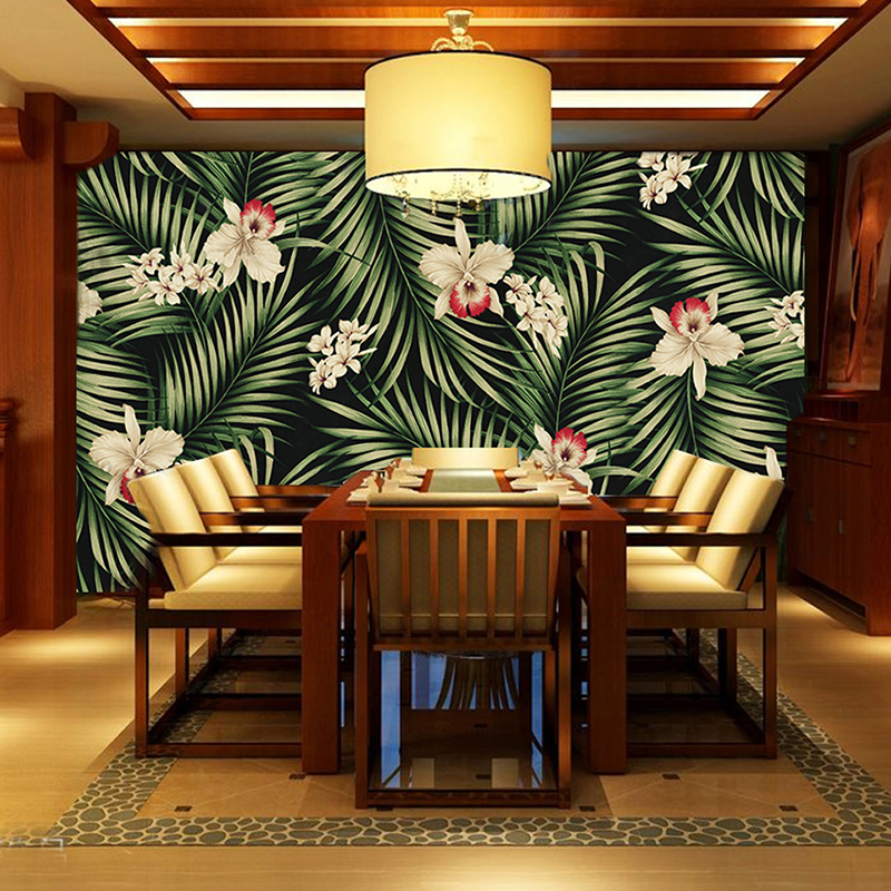 Custom Wall Mural Wallpaper European Style Retro Hand Painted Rain Forest Plant flowers Leaf Pastoral Wall Painting Wallpaper 3D custom photo wallpaper 3d hand painted southeast asia tropical rain forest green banana leaf mural living room decor painting