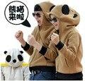 Anime japão camisola com capuz cosplay orelhas rosto zip cinza e marrom Panda para as mulheres
