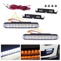 2x 30 LED Car 12V Daytime Running Light Driving Lamp White DRL Amber Turn Signal Fog