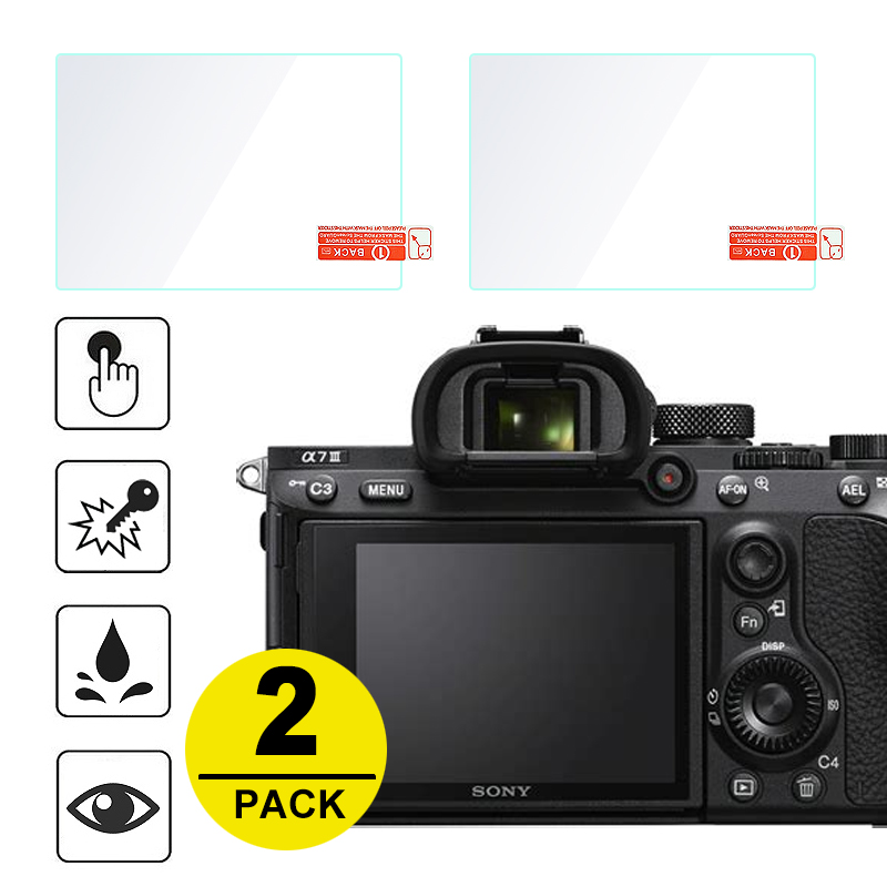 2x Tempered Glass Screen Protector for Sony A7 II III A7S A7R IV A99 A9 A6300 A6000 A5000 A6400 RX100 NEX 7/6/5/3N A33 A35 A55-in Camera LCD Screen from Consumer Electronics