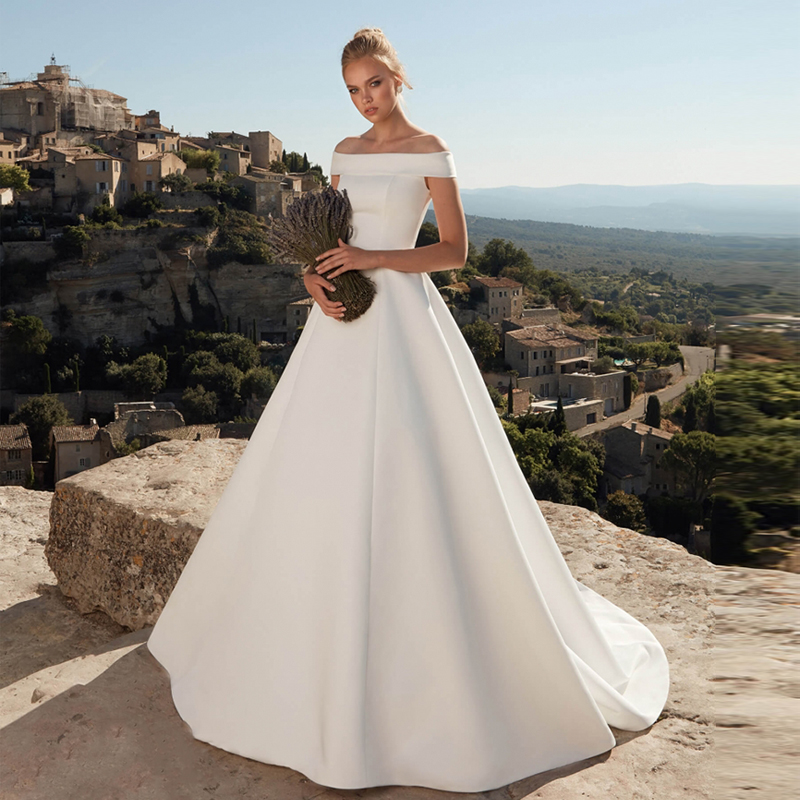 Verngo Simple Ball Gown Wedding Dress Ivory Satin Off the Shoulder Bridal Dress Princess Wedding Gowns Robe De Mariee China