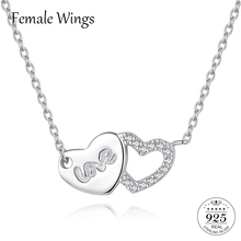Купить с кэшбэком Female Wings 925 Sterling Silver Two Hearts Love Jewelry Necklace For Women Cubic Zirconia Pendant Jewellery Necklaces FN011