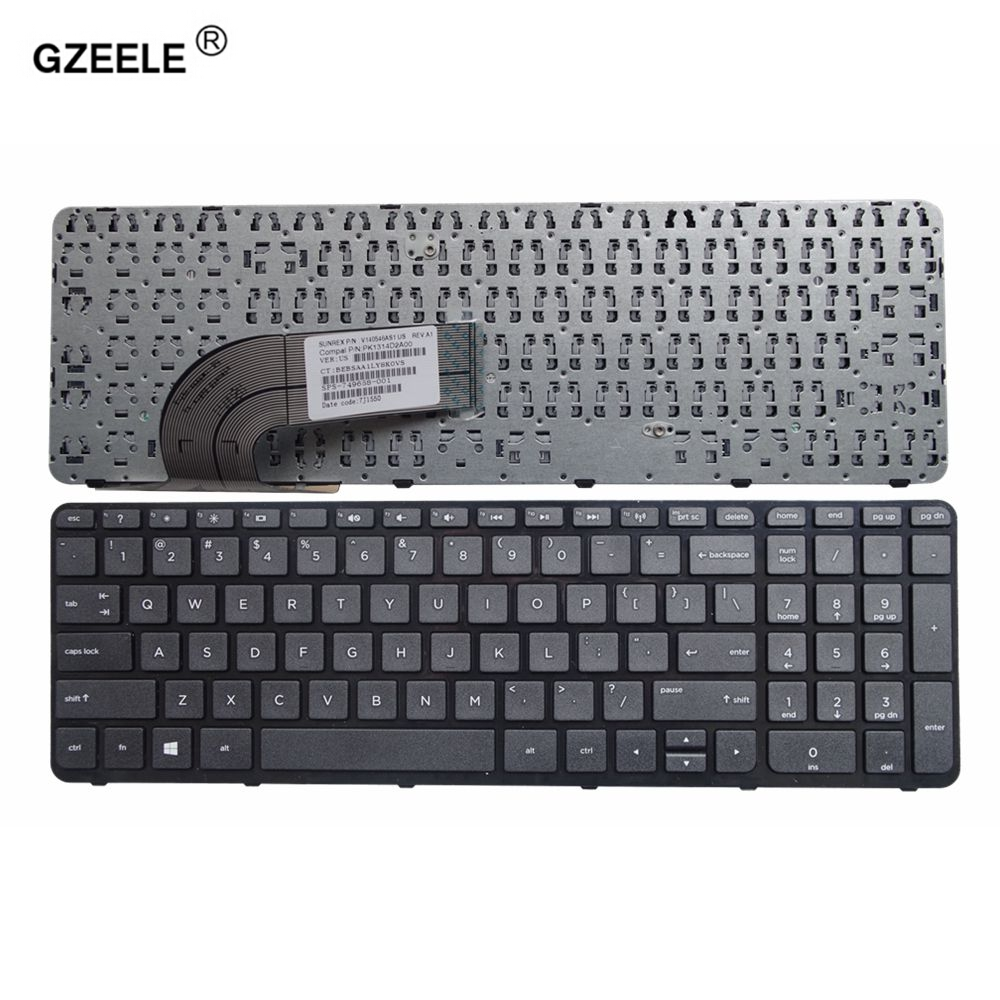 GZEELE English New Laptop Keyboard For HP 15-f000 15-h000 15-r000 15-F 15-G 15-H 15-r 749658-001 BLACK UK With Frame 710248-001
