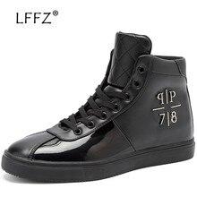 LFFZ Glossy High Waterproof Casual Shoes Men Spring & Autumn Flats Men Vulcanize Shoes Fashion Lace-up Men Footwear Sneakers