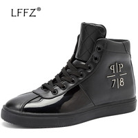 LFFZ Glossy High Waterproof Casual Shoes Men Spring & Autumn Flats Men Vulcanize Shoes Fashion Lace up Men Footwear Sneakers