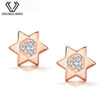 DOUBLE-R Étoiles 0.07ct Diamant Boucles D'oreilles Femelle 925 Sterling Silver Star Rose Or Boucles D'oreilles Classique Fine Jewelry CAE01847SA-3