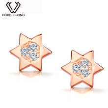 DOUBLE-R Star 0.07ct Diamond Earrings Female 925 Sterling Silver Star Rose Gold Stud Earrings Classic Fine Jewelry CAE01847SA-3